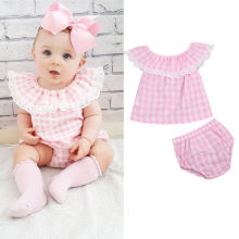 USA 0-3T Princess Baby Girl Lace Tops T-shirt+Shorts Pants Outfits Set Clothes Pink Plaid Summer Casual Support Drop Shipping