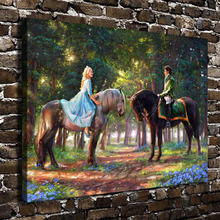 H1382 Thomas Kinkade Cinderella Prince Romance Awakens, HD Canvas Print Home decoration Living Room Wall pictures Art painting(China)