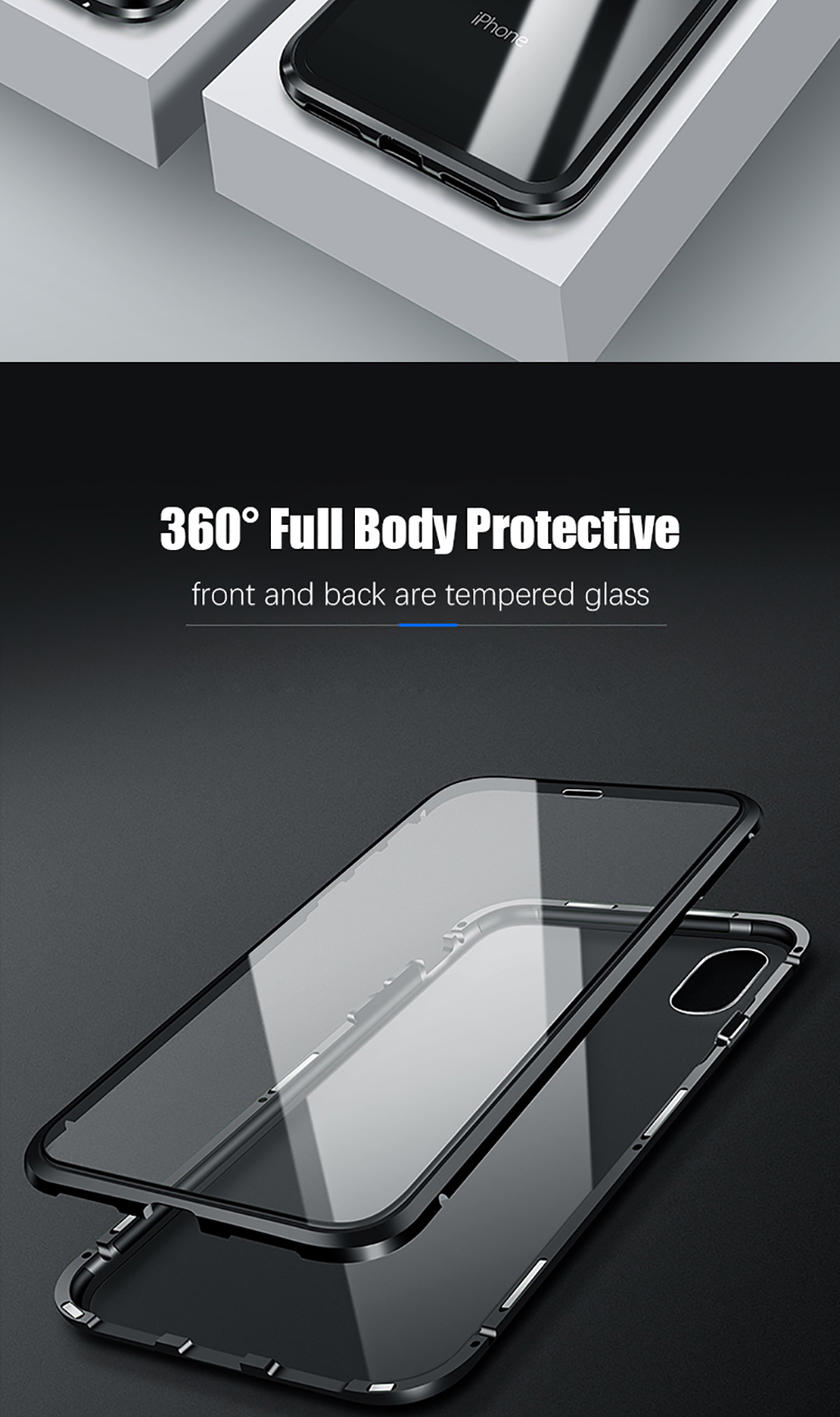 Double sided glass Magnetic case for iphone XS Max X 7 8 Plus Luxury metal 360 degree Full protection cover for iphone 7 8 Xr (4)