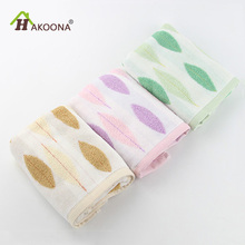 HAKOONA 70*35cm Green Leaves Embroidered Terry Face Towels 100% Cotton Fabric For Adults Bathroom Hand Towels(China)