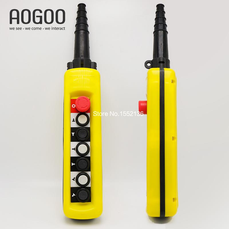 XAC-A6913 5A 6 Pushbuttons Double Speed Hoist Crane Pendant Control Stations With Emergency Stop For circuits Double insulated<br>