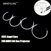 HOPSTYLING 1 SET (2X 131mm +2X 145mm ) E46 A+B white CCFL Angel eyes for BMW E46 Non projector led headlight car-styling(China)