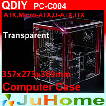 Luxury DIY horizontal transparent PC case, acrylic,  Support ATX, M-ATX, personalized fashion PC case, QDIY PC-C004