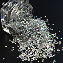 SWEET TREND 1Box Laser Bottle Tips Thin Mini Round Paillette Nail Shining Glitter Sparkly Sticker Tips Manicure Tools LAY09