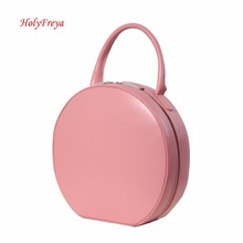 Tan Pink Genuine Leather Handbags Women Bag Designer Leather Bags Luxury Circular Round Bag Circle Leather Tote Clutch Female(China)