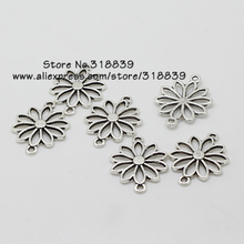 Hollow Flower Jewelry Connectors Antique Silver Metal Alloy  Trendy Charms for Bracelet Making 7493