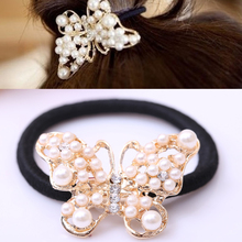 LNRRABC Women Imitation Pearls Butterfly Hair Rope Charm Crystal Rubber Headband Ponytail Gum Elastic Hair Bands Headband Gift