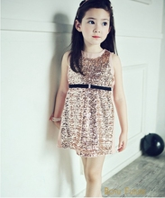 Wholesale 2016 New Summer Girl Dress Sleeveless Exquisite Sparkling Sequin Vest Dress Childrens Dress Kids Clothes 5pcs/lot 2-7Y