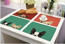 Tablecloths Cute Dog Printed Cotton Napkins Linen Table Mats Tableware Mats Hot sales Table cloth