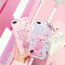 CUTE Polka Dot Cartoon Case for iPhone 7 7plus Liquid Quicksand Case Cat Giraffe Soft Pink/Blue Coque for iPhone 6s 6 s Plus
