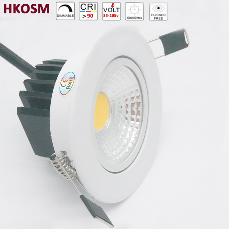 3W 5W 7W 9W 12W COB Dimmable LED Downlight 85-265V Recessed LED Spot Light Ceiling Lamp Light for Indoor Lighting white body(China)