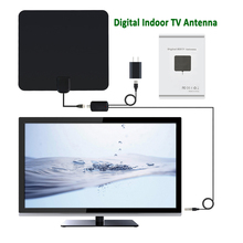 Digital Indoor TV Antenna Receiver HDTV DTV Box Ready HD VHF UHF Flat Design High Gain with Amplifier Signal Booster(China)