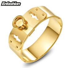 Enfashion Jewelry Circle Ring Wide Cuff Bracelet Noeud armband Gold color Bangle Bracelet For Women Bracelets Manchette Bangles(China)
