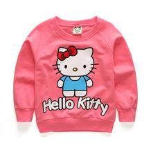 Hot baby girls cartoon hello kitty cotton printing t shirts children lovely minnie sweater tees tops boys pants t-shirt hoody(China)
