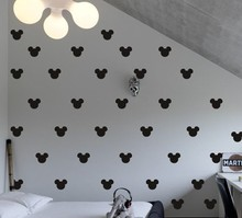 80pcs/set 6cm Mickey Mouse Head shape patterned Wall sticker for kids baby room decor(China)