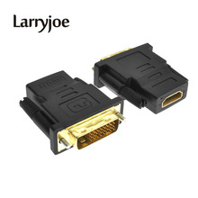 Larryjoe Gold Plated DVI 24+1 HDMI Convert Male to Female Adapter Converter Cable Cabo for HDTV LCD(China)