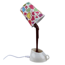 Novelty DIY LED Table Lamp Home Romantic Pour Coffee Usb Battery Night Light(China)
