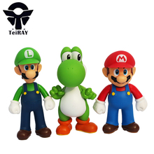 3pcs lot Super Mario Bros Luigi Mario Yoshi Pvc Action Figures Collection Model Figurines Toys 13cm juguetes for children gifts(China)