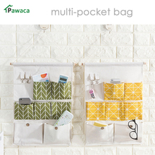 Pawaca Home Multi Layers Pocket Seven case Waterproof sundries hanging bag 2 key hook door wall hanging Classifiey storage bag(China)