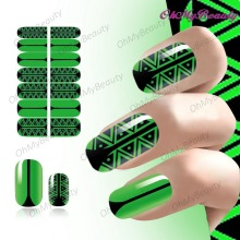 Full Sheet Nail Art Sticker Self Adhesive Polish Foil Green Color Theme Pattern Nails art Manicure Wraps Beauty Decals(China)
