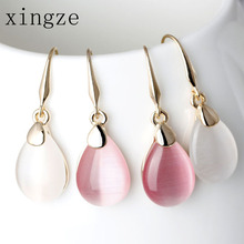 High Quality Gold Color Waterdrop-Shape Drop Earrings Clear Moonstone Opal Rose Crystal Earrings Women Fine Jewelry Wholesale(China)