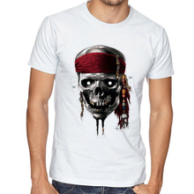 2017 Latest Film Pirates Of The Caribbean Men T Shirt Pirate Des Caraibes logo Male Tops Summer Cotton White Tees
