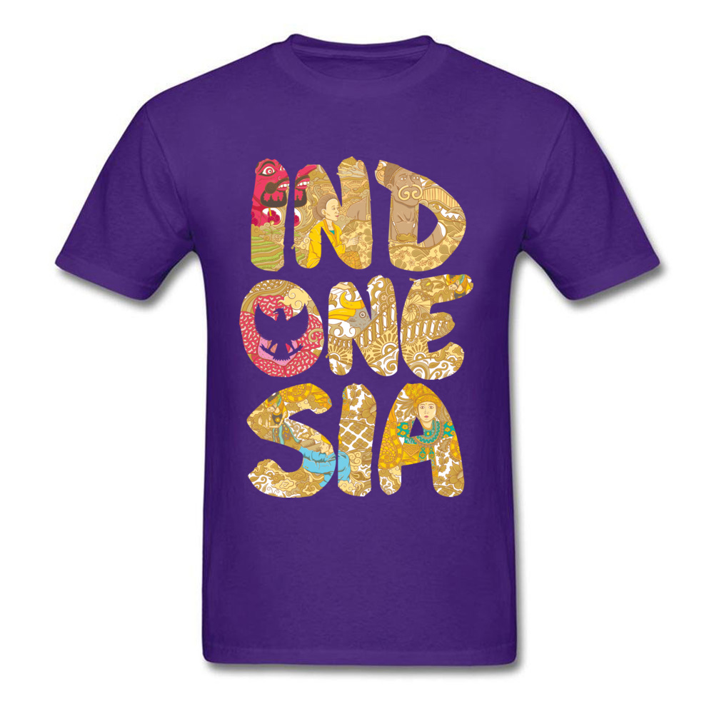 INDONESIA FONT Summer Fall All Cotton O-Neck Tops T Shirt Short Sleeve Summer Tops Shirts Prevailing Printed On T-shirts INDONESIA FONT purple