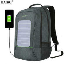 BAIBU New solar usb charging backpack 15 inch laptop backpack business waterproof bag for men travel knapsack antitheft daypack(China)