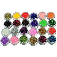 24 Colors Nail Glitter Acrylic Powder Dust 3D Tip Nail Art Manicure Tools Nail Art Decoration Powder Dust Gem Nail Decoration