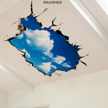 SHIJUEHEZI Sky Clouds 3D Wall Sticker PVC Material Ceiling Stickers DIY Floor Decals for Kids Rooms Living Room Decoration