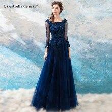 La estrella de mar vestido madrinha new tulle crystal long sleeves A Line  navy blue burgundy bridesmaid dresses long plus size 0330063d788c