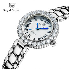 Royal Crown Women's Watch Japan Quartz Hours Fine Fashion Dress Steel Bracelet Luxury Rhinestones Bling Girl's Gift Box