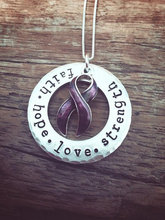 "Cancer Awareness Necklace ""faith hope love strength"" Breast Cancer Survivor Pendant Necklace Jewelry YLQ0446(China)"