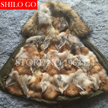 2016 New Women Winter Army Green&Black Jacket Coats Thick Parkas Plus Size Real Raccoon Wolf hair Collar Hooded Outwear&Fur coat