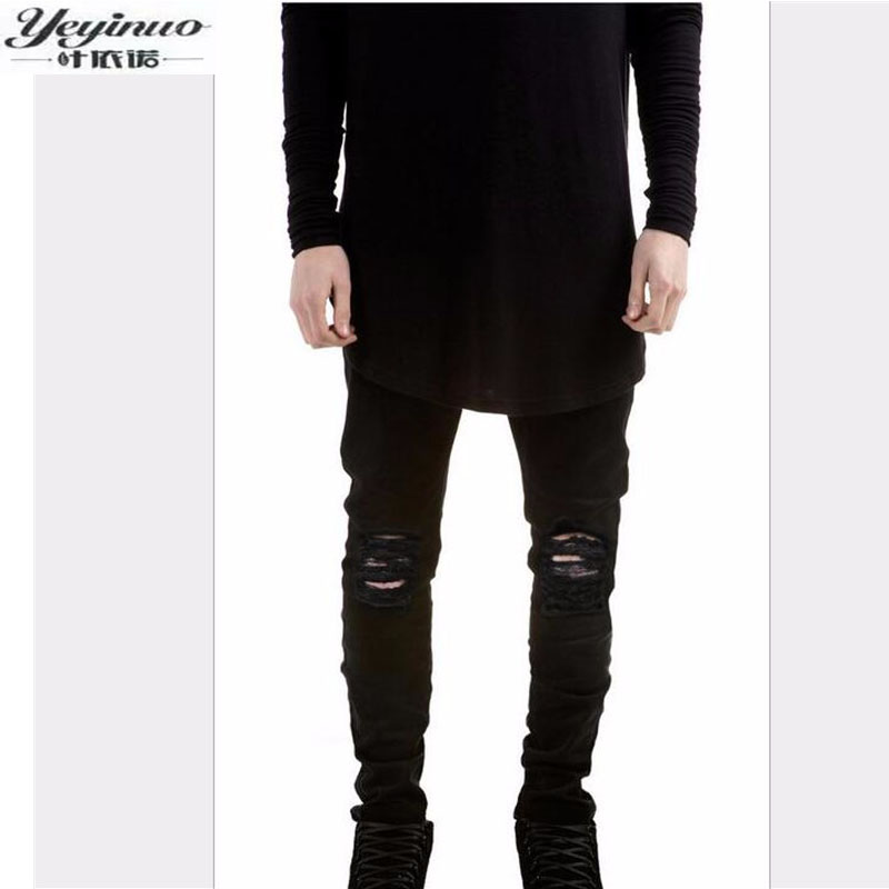 2017 New Black Ripped Jeans Men With Holes Super Skinny Famous Designer Brand Slim Fit Destroyed