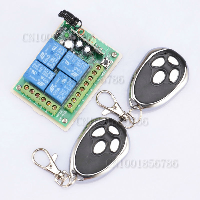 DC12V 4CH Digital Radio Remote Control Switches Receiver +Metal Transmitter Learning Code<br><br>Aliexpress
