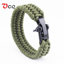 100% Top Outdoor Camping Rescue Paracord Bracelet Men Survival Parachute Cord Braided Rope Adjustable Stainless Steel Bracelet(China)