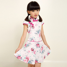ZAPUYO Print Traditional Cheongsam Girls Elegant Summer Dresses Sleeveless Dress for 2-7 Years Old Children