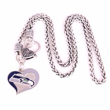 Drop shipping New styles sport necklaces Seattle Seahawks Swirl Heart Football team logo charm with Wheat link chain Necklace(China)