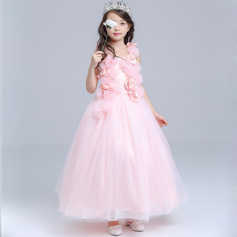 2017 New Girls Wedding Dresses Pink Girls Gowns Floor Length Evening Party Princess Dresses Tulle Girl Dresses DQ272<br>