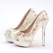 2016 Vogue Ivory High Heel Formal Shoes Pearl Bridal Shoes Wedding and Brideal Shoes with Tassel Shape women Platforms