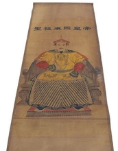 174*64cm Folk art collectable Hand painted Qing Dynasty Kangxi emperor portrait old scroll painting Retro home decor 174 * 64 cm