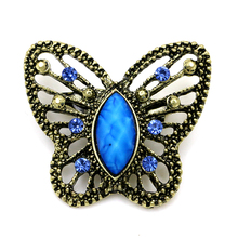 Antique Crystal and Resin Stone Butterfly Brooch Pins for Women in Assorted Colors