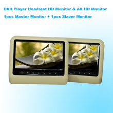Car DVD Player Headrest Monitor 9 Inch(16:9) Digital LCD Monitor With USB SD Port Game & AV HD Monitor (One Pair) - Beige Color