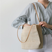 2017 Summer new Women Handbag Fashion Solid Shopping Tote Beach Bag Casual Bucket Straw Tote Bag Summer Shoulder Bag bolsa femin