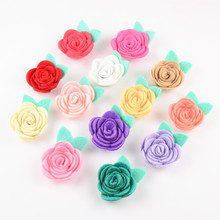 60pcs/lot 1.6'' Tiny Fabric Rose Flower with Leaf Chic Fabric flowers girls Headband Decoration 30 Color Alternative TH211