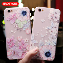 BROEYOUE Soft TPU Case For iPhone 5S SE 6 6S 7 8 Plus 3D Relief Flowers Print Ultra Thin Silicone Cell Phone Case For iPhone X(China)
