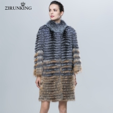 ZIRUNKING Natural Silver Fox And Red Fox Fur Coat Autumn Winter Women's Coat Striped Style Nine Quarter Fashion Slim Fur ZC1624