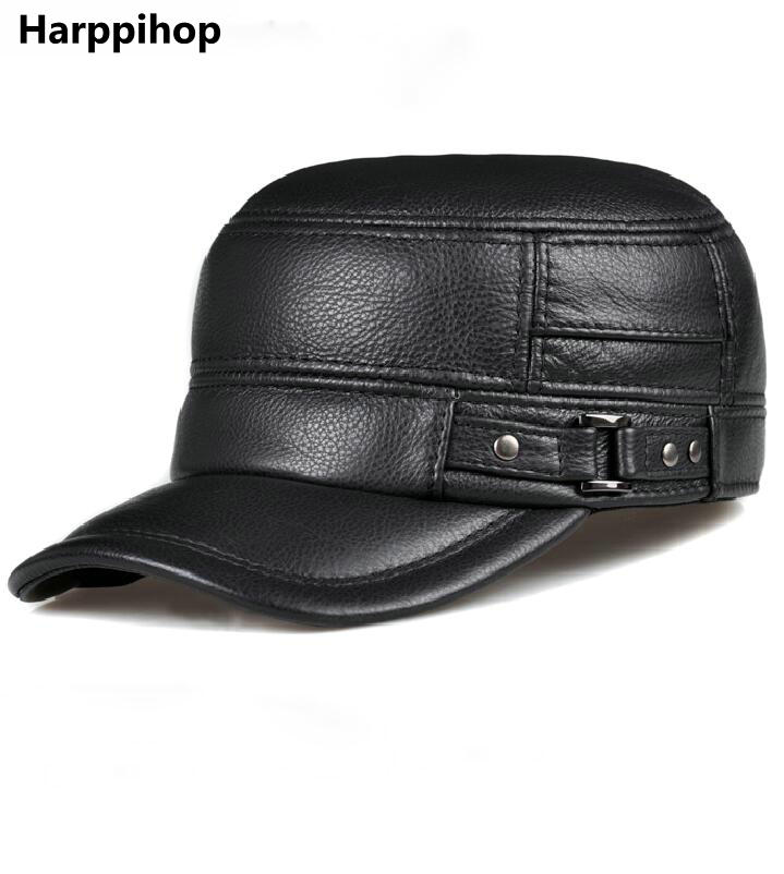 Mans Cowhide baseball caps male real cow leather hat spring autumn winter casual real cowskin headgear brand adjustable<br>