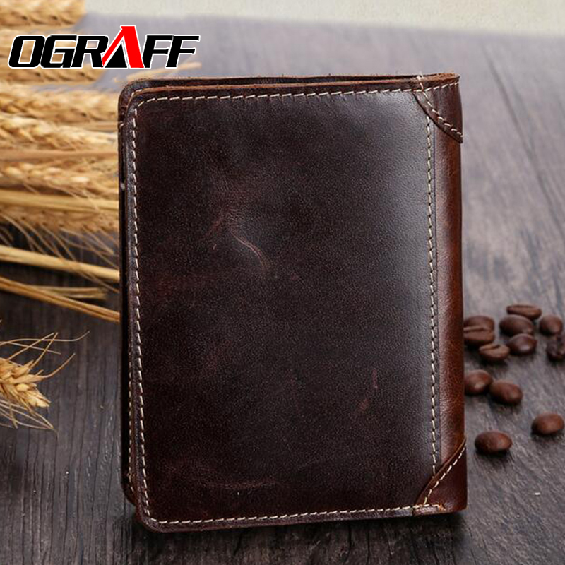 OGRAFF Men wallets 2017 crazy horse leather wallet purse genuine leather wallet money clip small wallet short high quality<br><br>Aliexpress